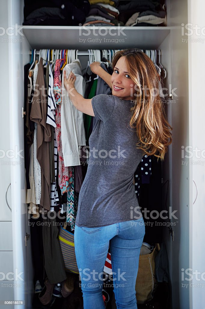 So many clothes, so little time! stock photo