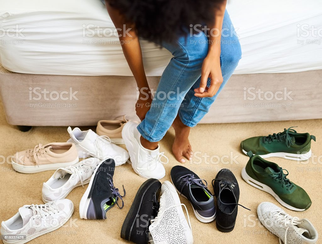 So many shoes, only two feet stock photo