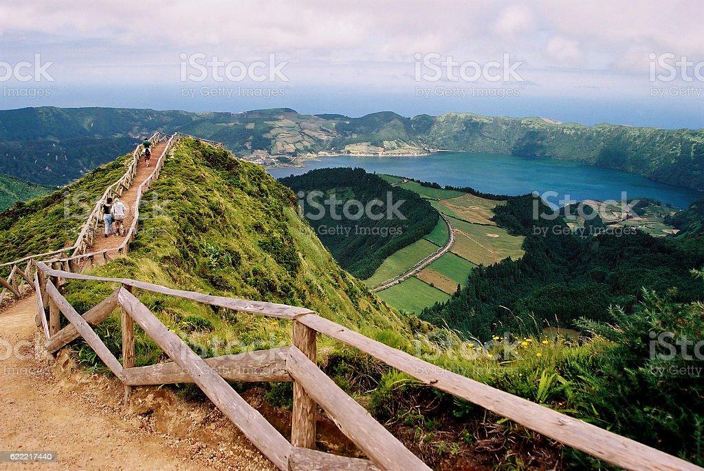 São Miguel Island - Panoramic with Sete Cidades Lagoon stock photo