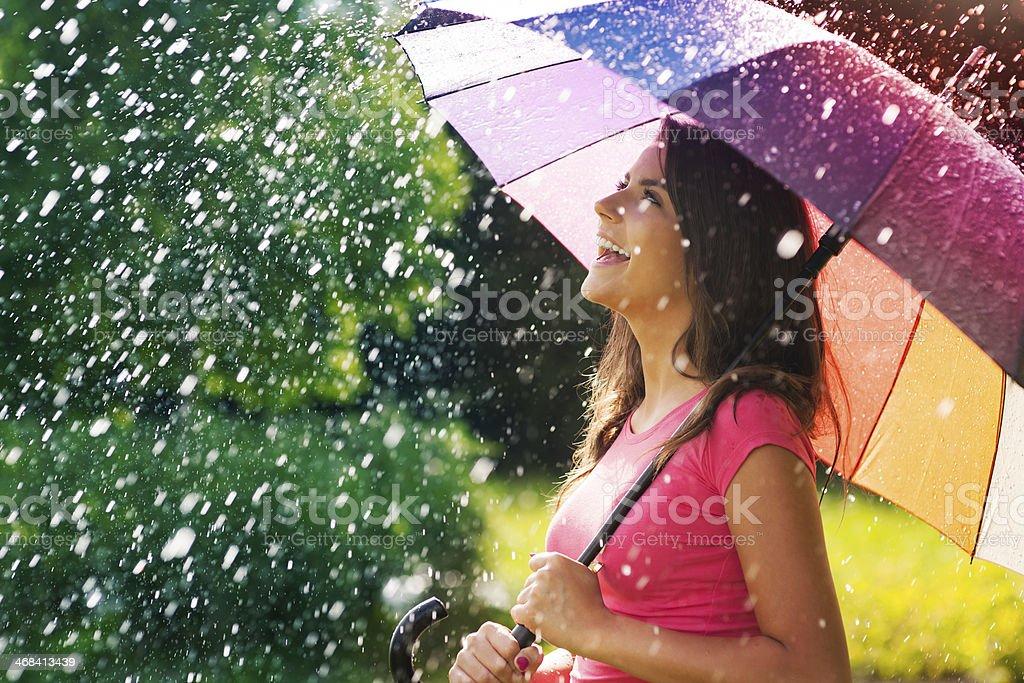 So much fun from summer rain stock photo
