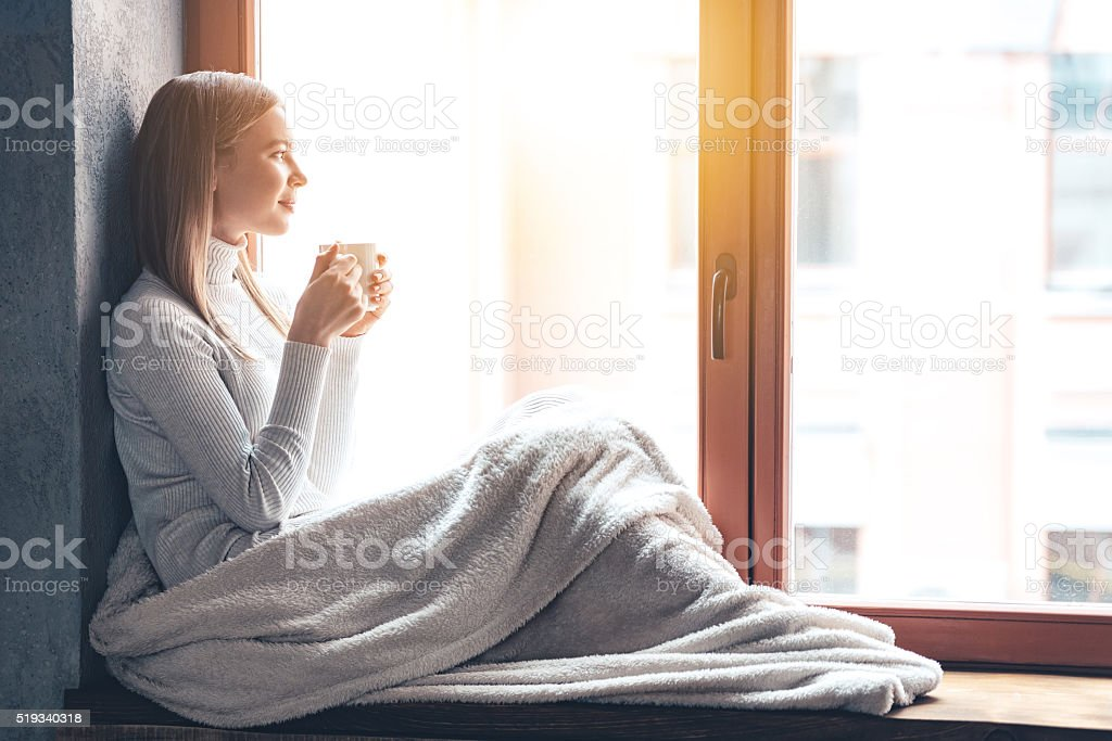So nice to spend a day at home! stock photo