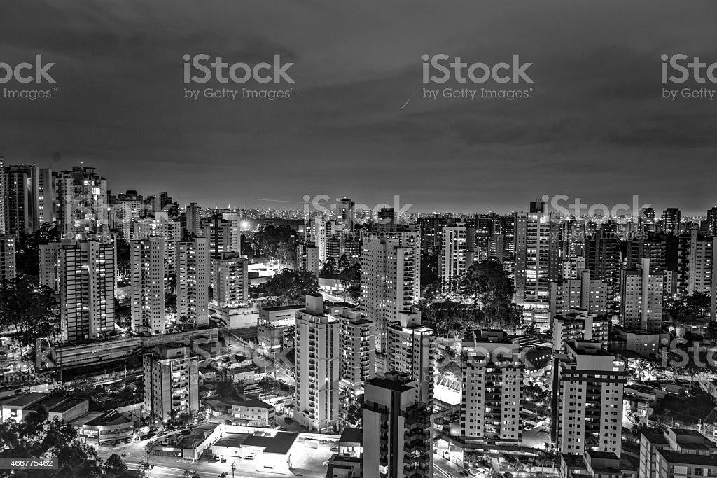 São Paulo City Night - Black and White stock photo