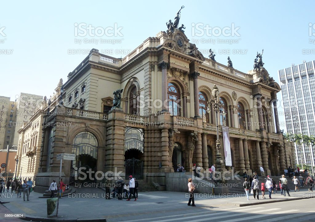 São Paulo's City Theater in the heart of the metropolis. stock photo