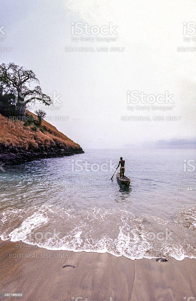 S?o Tom? and Princip?, S?o Tom?, fishermen in canoe. stock photo