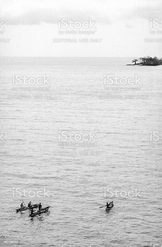 S?o Tom? and Princip?, S?o Tom?, fishermen in canoes. royalty-free stock photo
