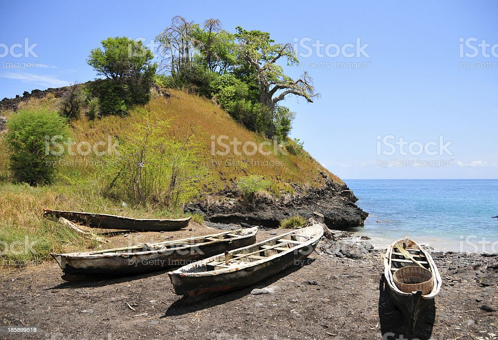 São Tomé and Príncipe: fishing boats on the beach stock photo