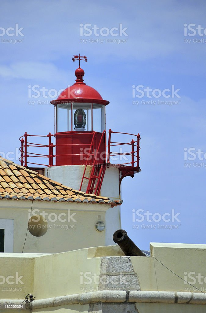 São Tomé: lighthouse and Portuguese cannon stock photo