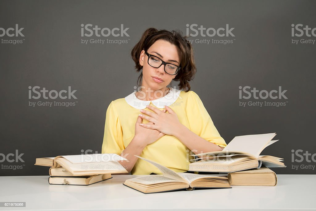 So touched by these readings stock photo