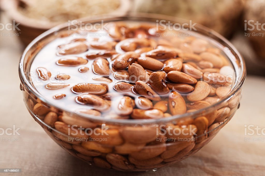 Soaked Bean in glass bowl stock photo