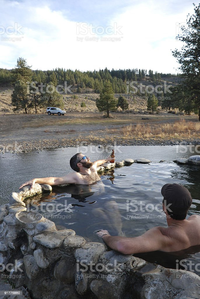 Soaking in Hot Springs royalty-free stock photo