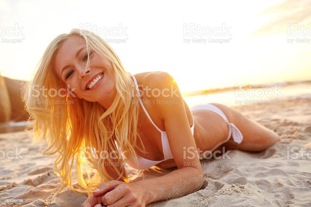 Soaking up the sun stock photo