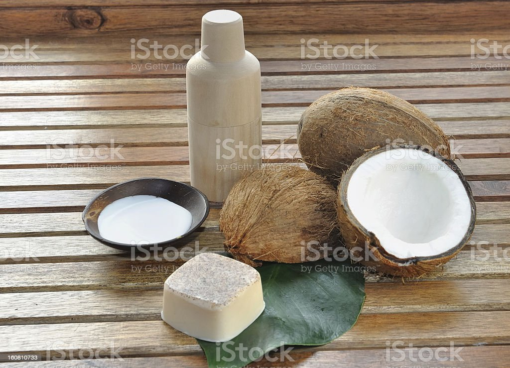 soap and coconut milk for body care royalty-free stock photo