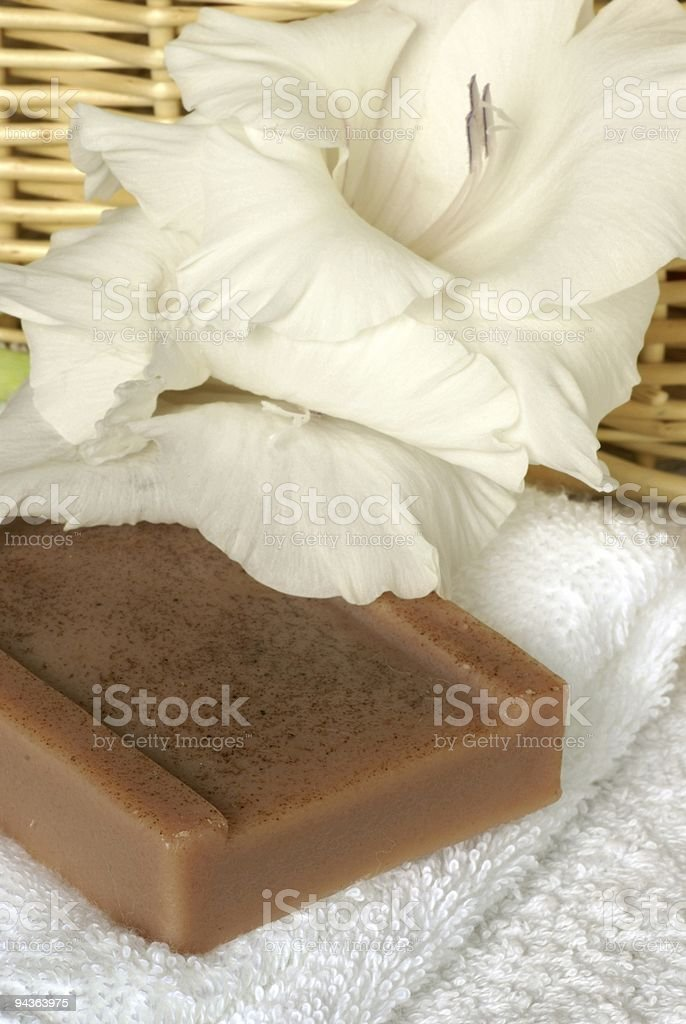 Soap and flower royalty-free stock photo