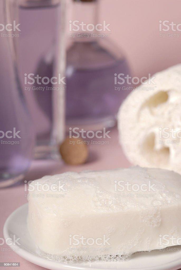 Soap and luffa royalty-free stock photo