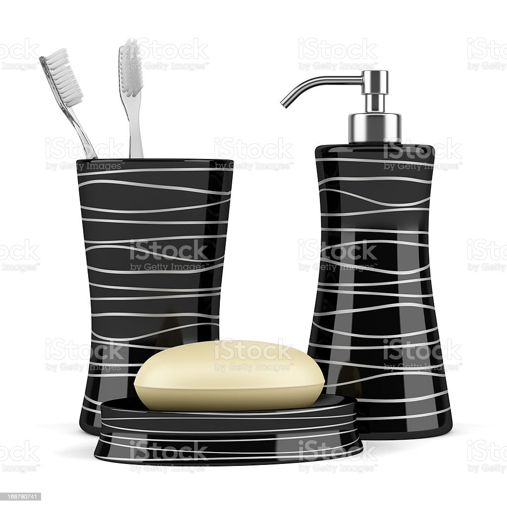 soap and toothbrushes isolated on white background royalty-free stock photo