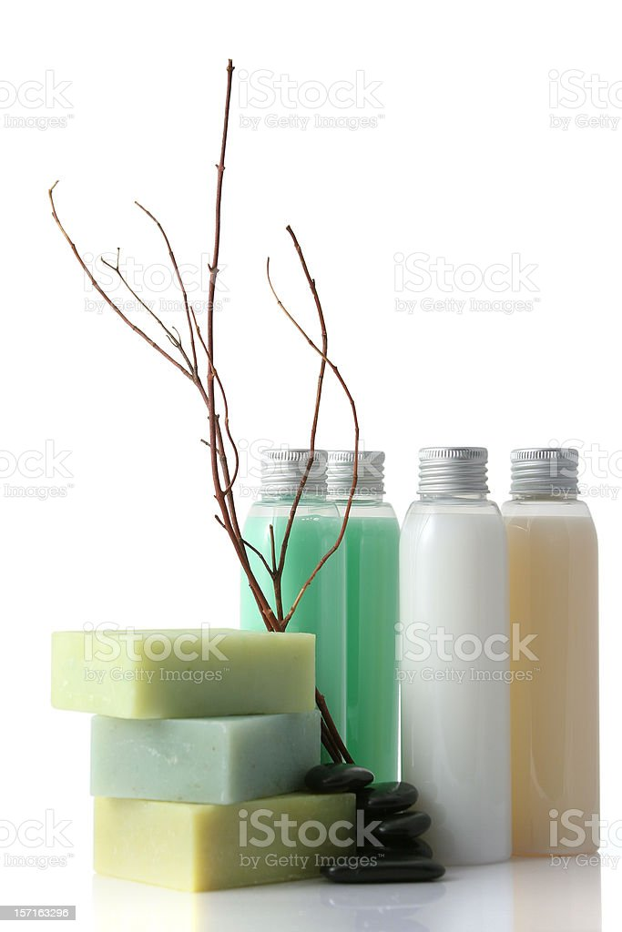 Soap bars and bathroom products in a zen composition royalty-free stock photo