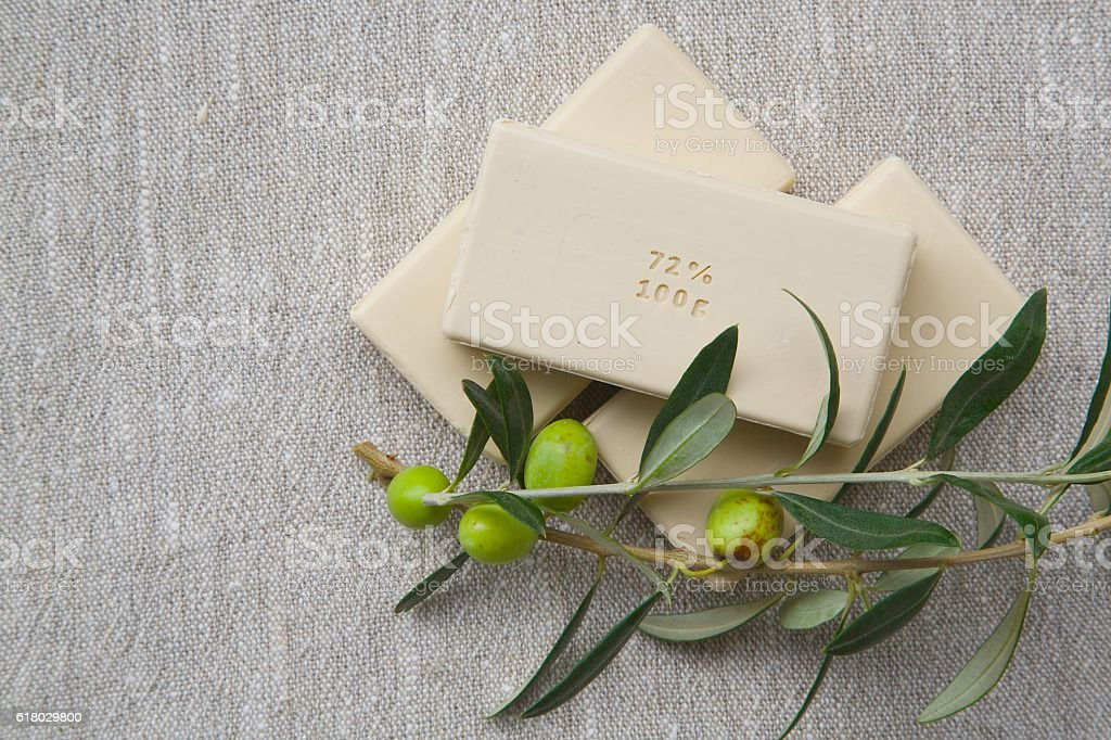 Soap bars with olive oil stock photo