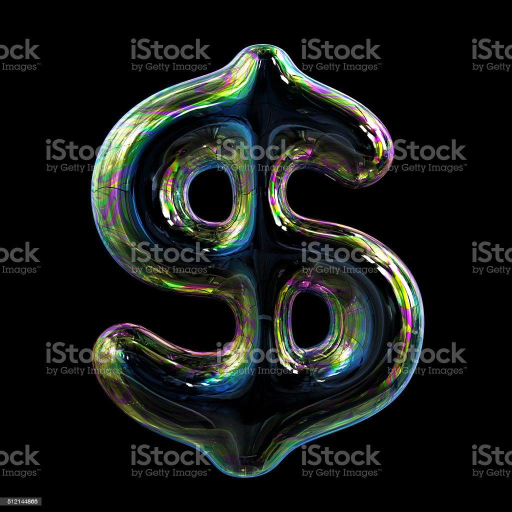 Soap Bubble Dollar Sign. Concept. stock photo