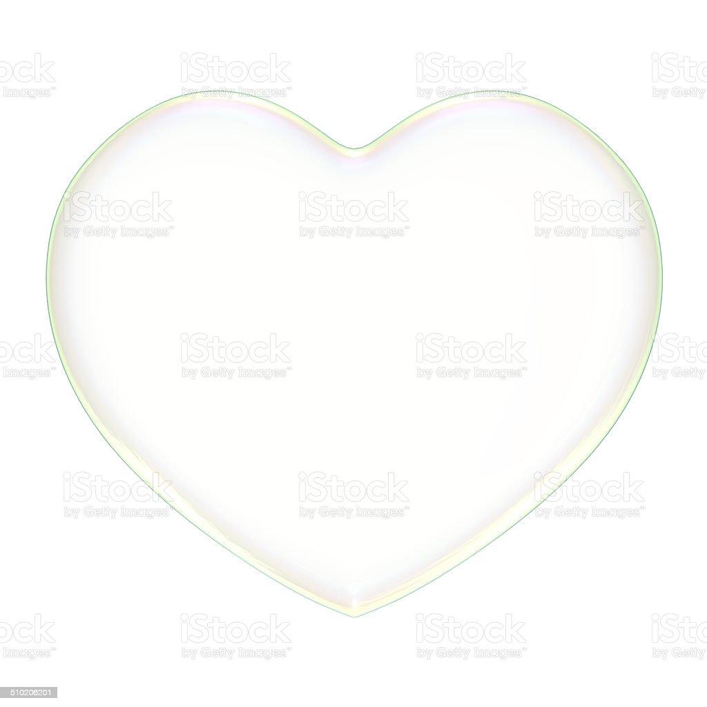3D soap bubble Heart Shape on a white background stock photo