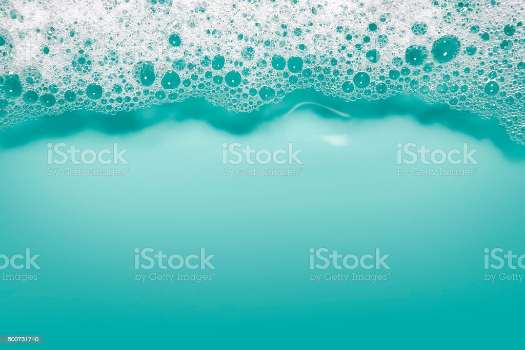 Soap bubbles background (blue) stock photo