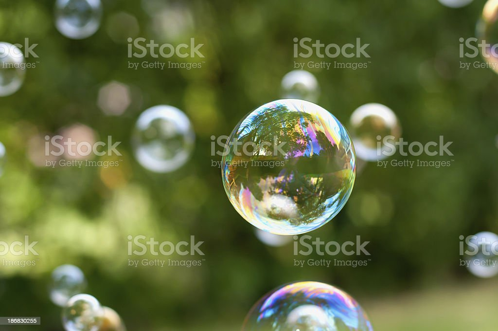 Soap bubbles floating in air stock photo