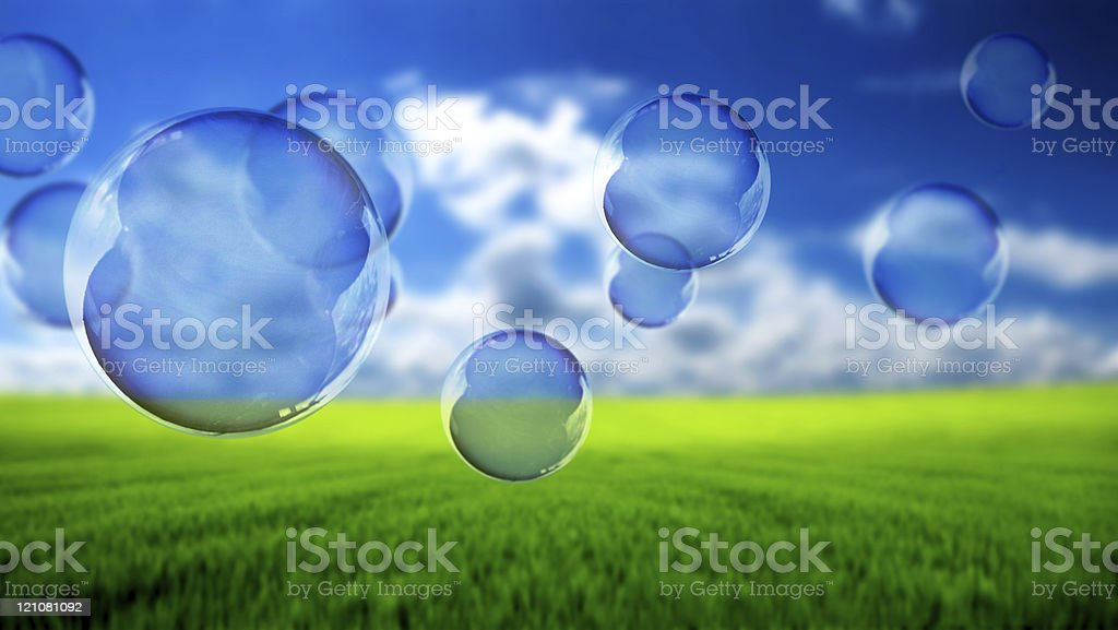 Soap bubbles flying royalty-free stock photo