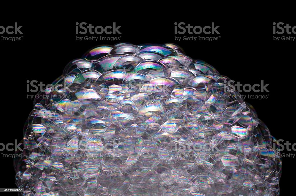 Soap Bubbles iridescent colourful surface stock photo