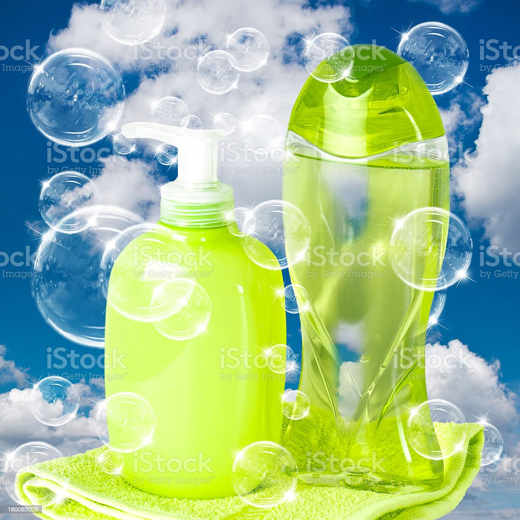 soap bubbles on cloudy sky background royalty-free stock photo