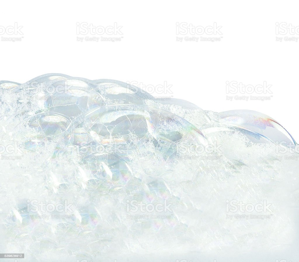 Soap bubbles on white background stock photo