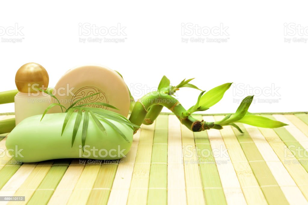 soap, cosmetics and bamboo stock photo
