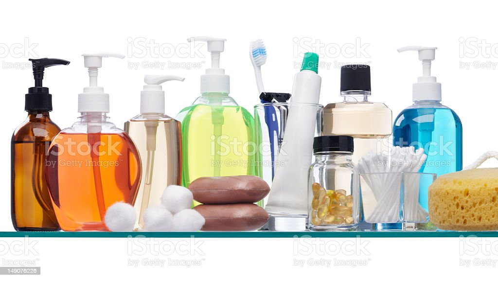 Soap dispensers, Cotton swabs and other toiletries stock photo