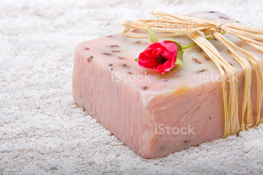 Soap on a towel royalty-free stock photo