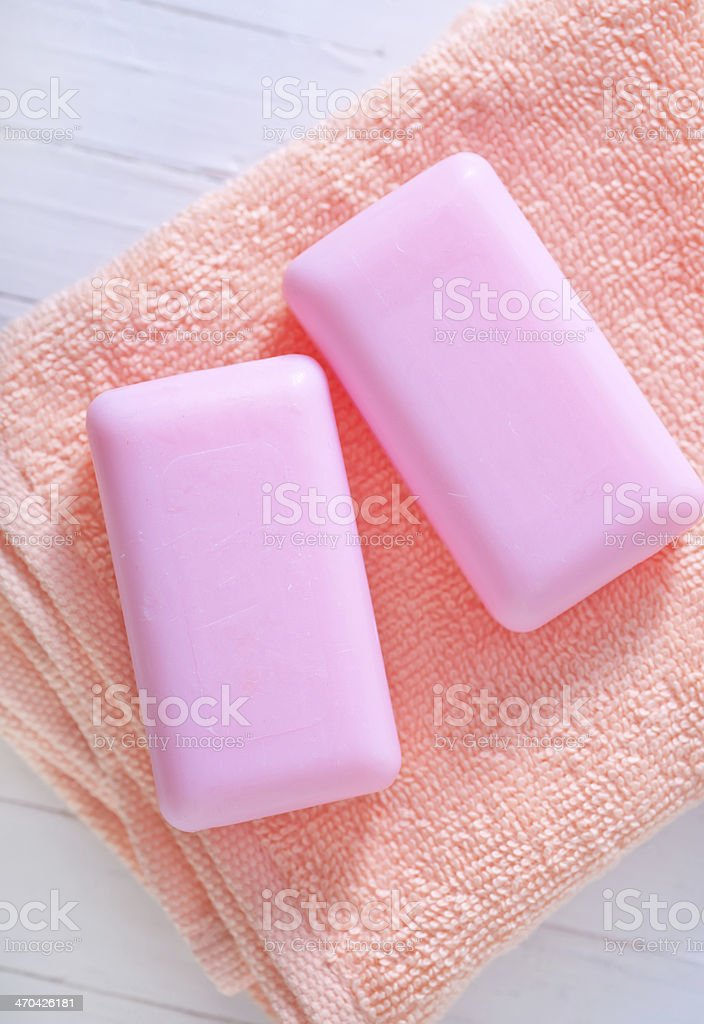 soap on towel royalty-free stock photo