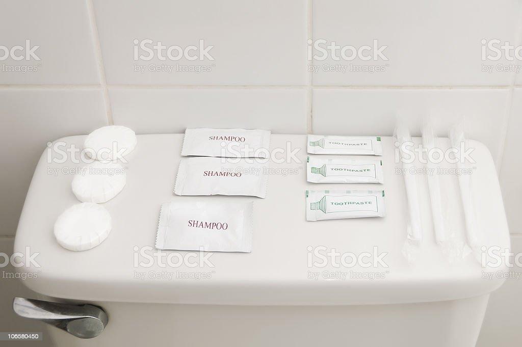 Soap, Shamppo, Toothpaste, toothbrush stock photo