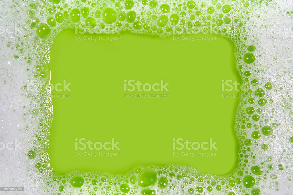 Soap sud frame (green) stock photo