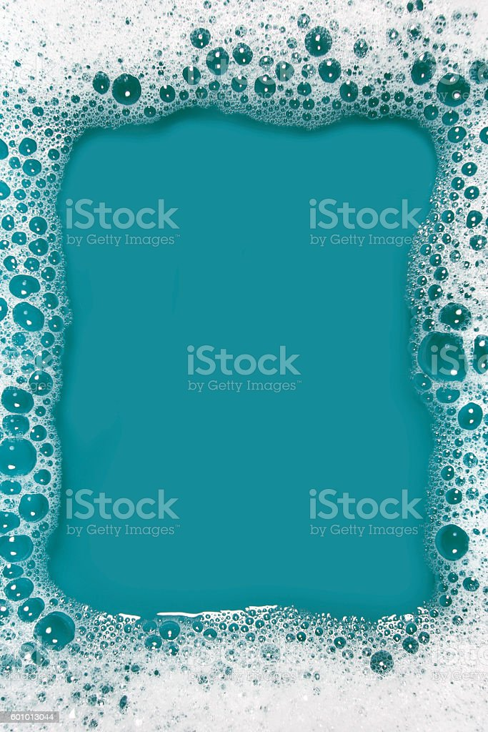Soap sud frame (blue) stock photo