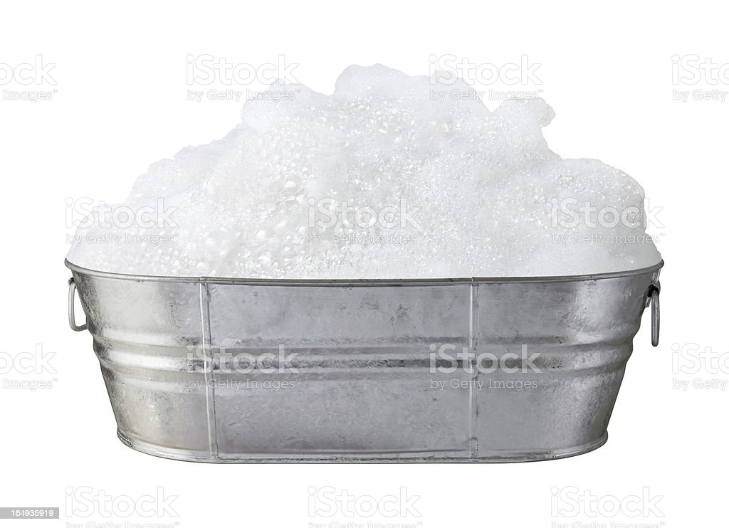 Soap Suds and Bubbles in a Tub isolated stock photo
