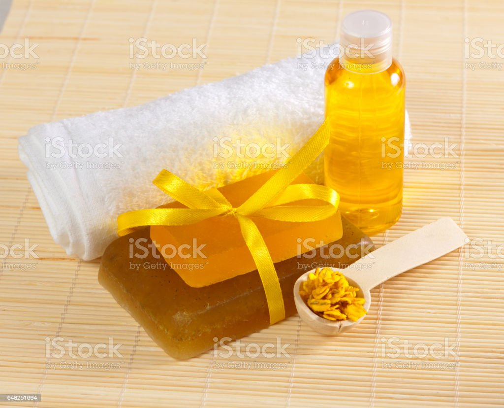 soap, towel and other accessories stock photo