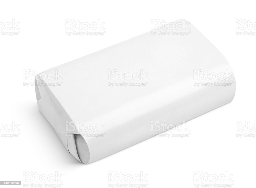 Soap wrap box package isolated on white stock photo