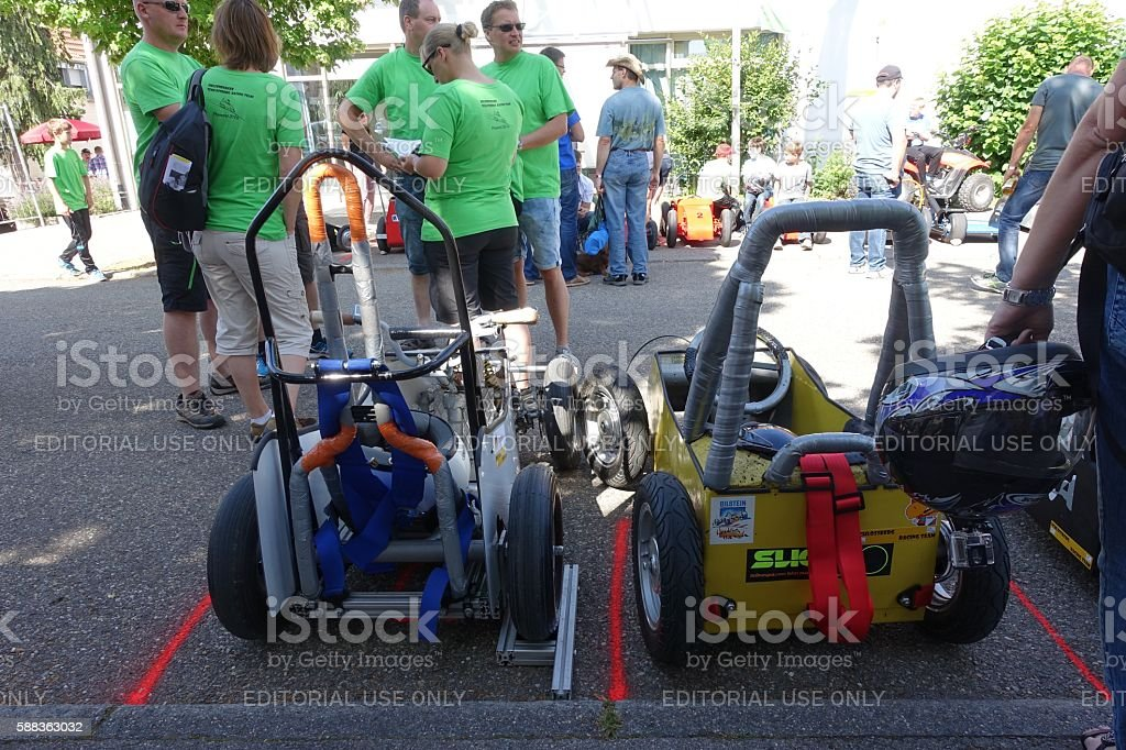 Soapbox racing cars parked at the street waiting for start stock photo