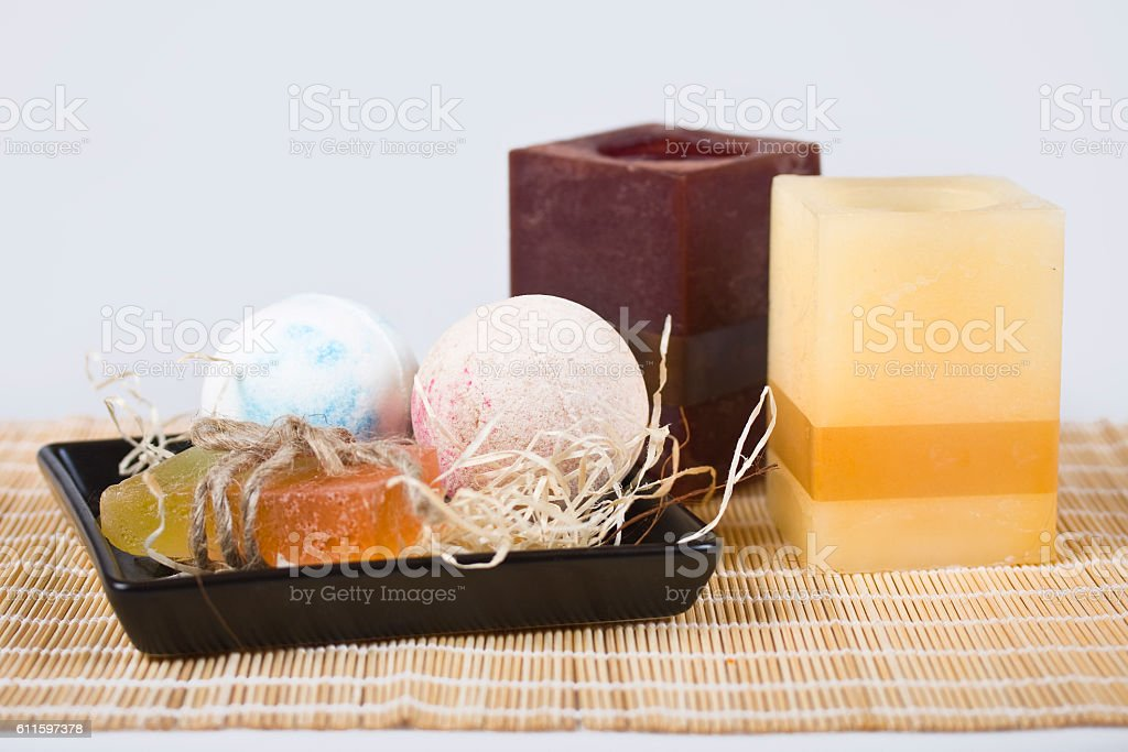 Soaps and candles. stock photo
