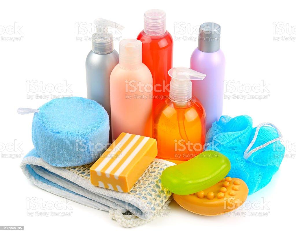 soaps and sponge stock photo