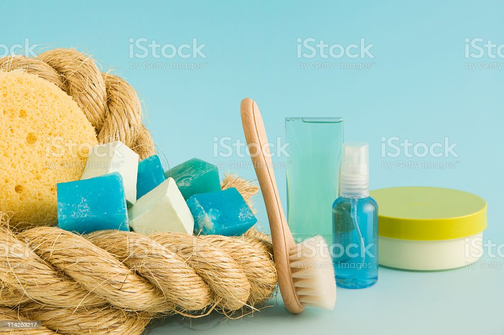 Soaps moisturisers and creams to freshen-up with (XXL) royalty-free stock photo
