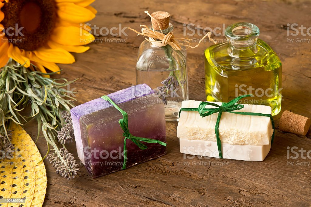 Soaps oiled olive and lavender flowers stock photo