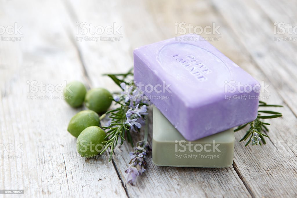 Soaps with herbs royalty-free stock photo