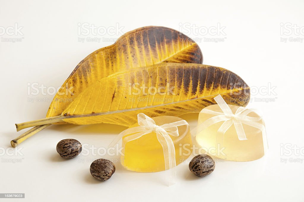 Soaps with leaves royalty-free stock photo