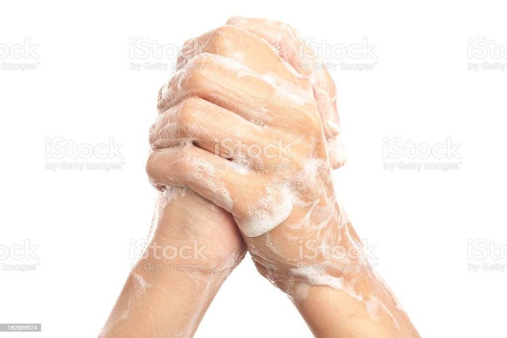 Soapy Hands Clasped Together royalty-free stock photo
