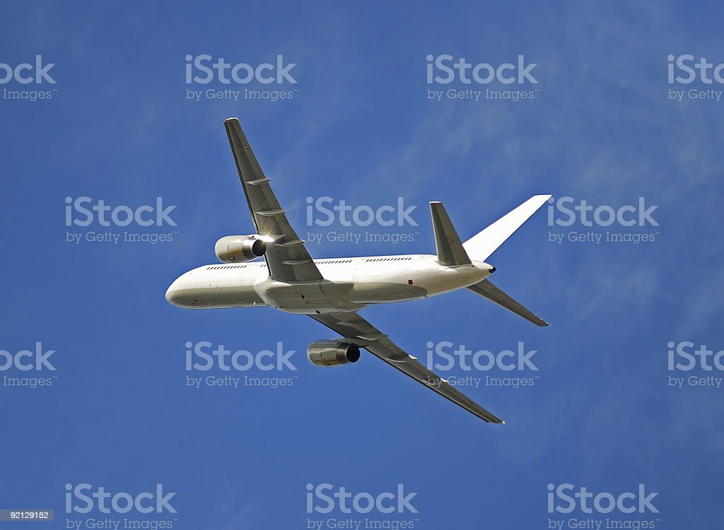 Soaring Boeing 757 jet royalty-free stock photo