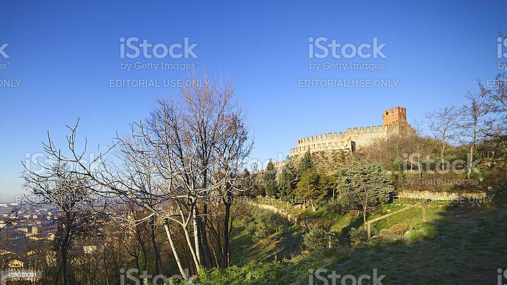Soave Castle at sunrise near to Verona (Italy) stock photo