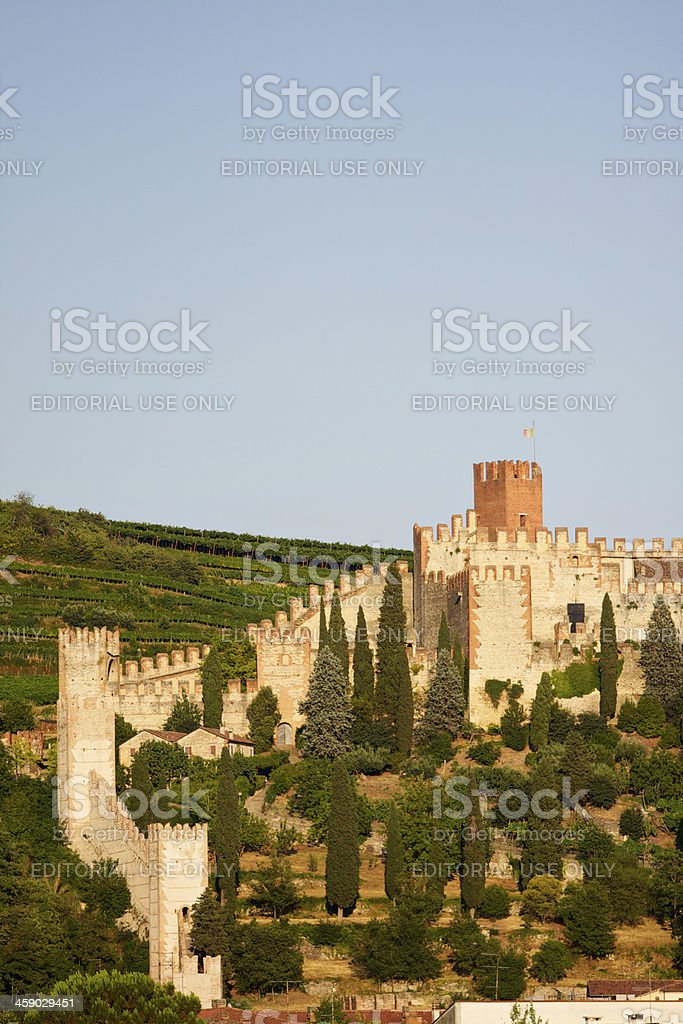 Soave Castle at sunset near to Verona (Italy) royalty-free stock photo